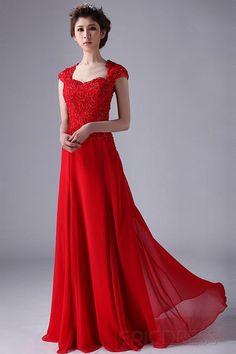 Classical A-line/Princess Capped Sleeves Long Evening Prom Dress Elegant Evening Dresses- ericdress.com 10465109