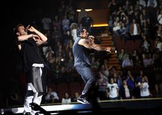 "Joey McIntyre and Danny Wood of New Kids on the Block perform at The Main Event Tour sponsored by Cottonelle ""Go Commando"" at The Forum on May 9, 2015 in Inglewood, California. - New Kids On The Block and Cottonelle Dare You to 'Go Commando'"
