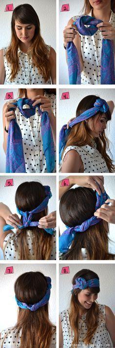Conseils de coiffure, comment faire une fleur avec un foulard et enrouler son foulard dans ses cheveux courts ou longs,mettre un foulard autour de la tête.