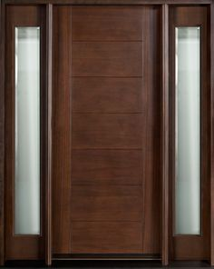 Contemporary Series Wood Entry Door - Single with 2 Sidelites Mahogany Walnut   ~ Available In-stock. ~ Furniture quality finish. ~ Insulate...