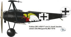 Fokker Dr.I 450/17, Mid-1918 of Lt. Josef Jacobs, Kommander of Jasta 7