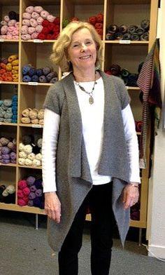 ... sweet Mom is wearing her asymmetrical 119-1 vest jacket in 1 strand Alpaca + 1 strand Kid-Silk. She says she loves it!
