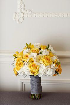 yellow bridal flowers Vancouver Club wedding