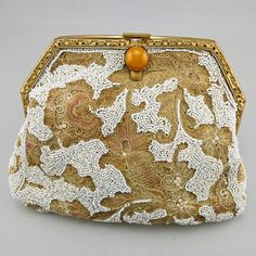 Vintage Clutch Purse 1920s Embroidered Beaded Purse
