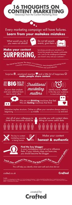 """16 Thoughts on Content Marketing"" infographic for Crafted #infographic #marketing"