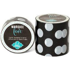 "Heidi Swapp Marquee Love Washi Tape .875""-Black & White Polka Dot, 12' - ValuCrafts.com"