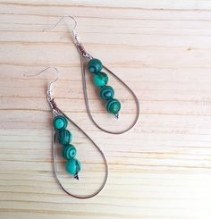 Malachite drop earrings by CraftingAwayTheFeels on Etsy