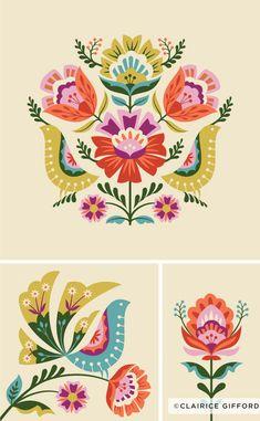 Floral Pattern Illustration - Trend Topic For You 2020 Folk Art Flowers, Flower Art, Bordado Popular, Polish Folk Art, Illustration Blume, Flower Illustration Pattern, Scandinavian Folk Art, Folk Embroidery, Hungarian Embroidery