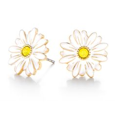 Seasonal Exclusive Gold Daisy Stud Earrings with Swarovski® Crystals www.charmingsusie.origamiowl.com