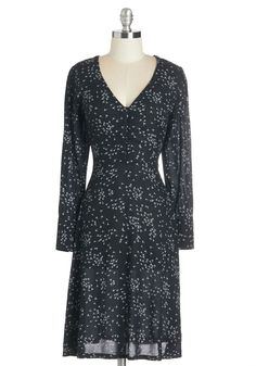 Show of Dandelions Dress. Cast your vote for effortless bohemian beauty in this black-and-white frock. #black #modcloth