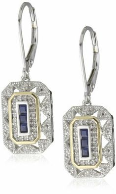 $143 S Sterling Silver and 14k Yellow Gold Blue Sapphire with Diamond-Accent Art Deco Style Drop Earrings