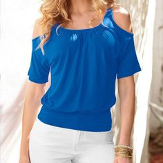 Summer Style Women Blouse 2016 New Fashion Sexy Short Sleeve Cold Shoulder Top Casual Cotton Shirt Black, White, Red, Blue
