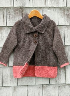 Color block cardigan; easy knit with minimal seaming.