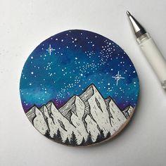 Galaxy Painting Galaxy Art Mountain Painting Wood Slice