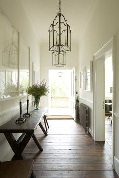 Richmond House | Rose Uniackel chandeliers in this hallway Entry Hallway, Entrance Hall, Entryway, Front Entry, Front Doors, Rose Uniacke, Edwardian House, Modern Luxury, Best Interior