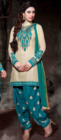 USD 35.77 Cream Cotton Silk Punjabi Suit 48017
