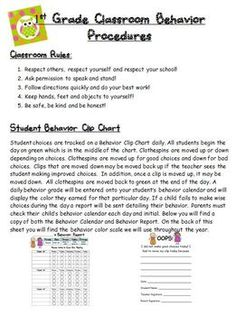 This is a parent letter I send home to my parents at the beginning of school detailing both the classroom rules and the behavior clip chart we will...