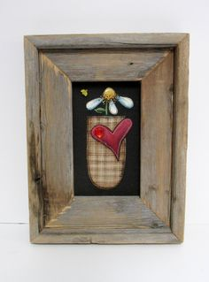 A Single Primitive Flower, Framed in Rustic Barn Wood, Tole Painted on Black Screen, Reclaimed Barn Wood, Hand Crafted Frame, Red Heart by barbsheartstrokes on Etsy