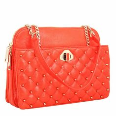 Rebecca Minkoff MIKEY Shoulder Bag in Persimmon with Light-Gold Hardware @stefanibags.com Rebecca Minkoff Handbags, Gold Hardware, Digital Marketing, Chanel, Branding, Shoulder Bag, Style, Fashion, Swag