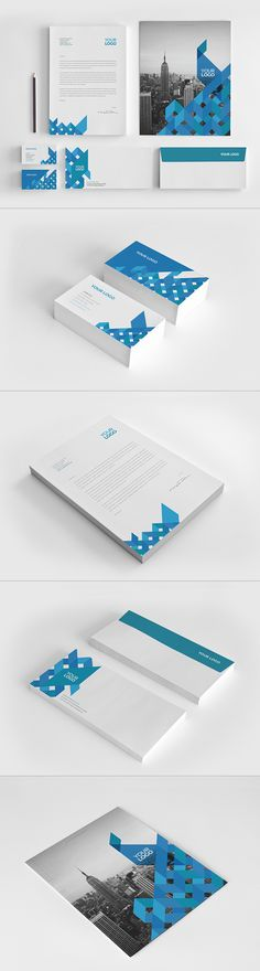 Modern Blue Square Stationery. Download here: http://graphicriver.net/item/modern-blue-square-stationery/10677964?ref=abradesign #design #stationery