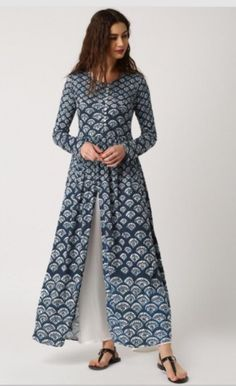 Buy IMARA by Shraddha Kapoor Navy Printed Anarkali Kurta with High Slit online in India at best price.avy blue printed Anarkali kurta , has a round neck, long sleeves, flared hem Stylish Dresses, Trendy Outfits, Casual Dresses, Fashion Outfits, Kurta Patterns, Dress Patterns, Kurta Designs Women, Blouse Designs, Long Kurta Designs