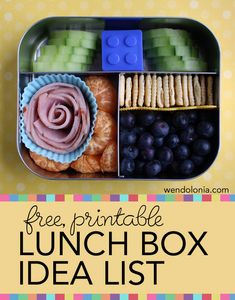 Free Printable Lunch Box Idea List -- lots of ideas for those days you can't think of ANYTHING to put in your kid's lunch box Lunch Box Bento, Lunch Snacks, Bento Lunchbox, Kid Snacks, Cold Lunches, Toddler Lunches, Healthy Lunches, Toddler Food, Healthy Food