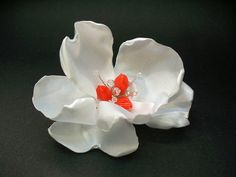 Bridal Couture White Magnolia Hair Flower Clip Coral Crystal Accessory *** Click on the image for additional details. (This is an affiliate link and I receive a commission for the sales)