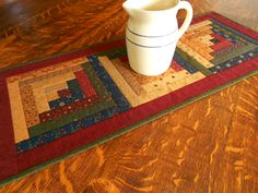 Country Colors Quilted Table Runner/ Scrap Log Cabin Pattern Burgundy, Navy,and…