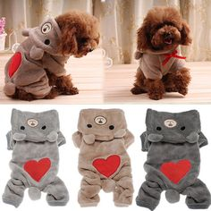 Winter Cat Dog Jumpsuit Bear Warm Puppy Dog Hoodie Bear Clothes