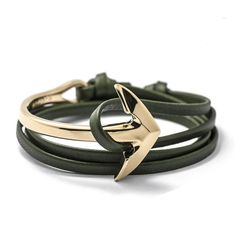Military Green - Silver Half Bend Anchor Leather Men's Bracelet Men [12 Variations] - 13