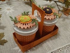 Mini coffee cups and holder.  Fill with treats and give to a special person.  www.stampinfunwithlynne.stampinup.net
