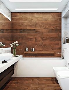 Well-oiled water repelling woods such as teak and iroko can deliver a rich opulent mood or a natural timber will create a calming effect. Luxury Interior Design, Interior And Exterior, Teak, Your Style, Bathtub, Bathroom, Calming, Woods, Interiors