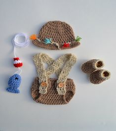 Crochet Newborn Baby Fishing Outfit Set Baby Fisherman Fishing Hat Fish Diaper  Cover Boots Baby Photography Photo Prop Picture Gift Handmade 36970a823371
