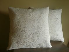 Two Cream Lace Pillow Cover Set 16x16 by Erindee on Etsy, $24.00