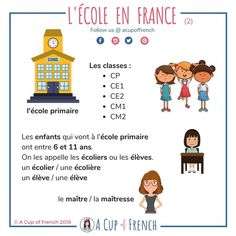 It's soon the start of a new school year in France. Therefore, I 'd like to talk about the French school system. French Learning Books, French Teaching Resources, Teaching French, Teaching Spanish, Teaching Reading, French Language Lessons, French Language Learning, French Lessons, Spanish Lessons