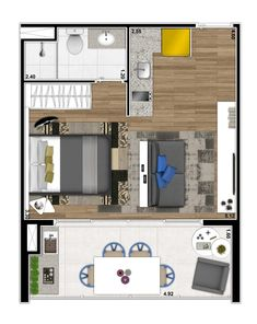Planta Viz Ponte Estaiada Small Apartment Plans, Small Apartment Interior, Studio Floor Plans, Small House Floor Plans, Mini Loft, Studio Type Apartment, Architectural Floor Plans, Property Design, Bedroom Floor Plans