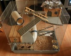 Tidy Looking Cage Rat Cage Diy, Pet Rat Cages, Gerbil Cages, Hamster Stuff, Hamster Care, Syrian Hamster Cages, Small Rat, Mouse Cage, Fancy Rat