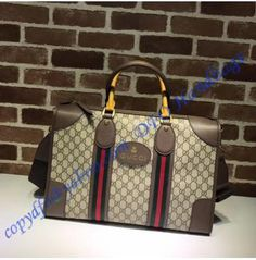 a0be728d6d Gucci Soft GG Supreme duffle bag with Web and brown leather trim Gucci  Outlet