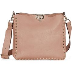Valentino Rockstud Pebbled Leather Hobo Messenger Bag ❤ liked on Polyvore featuring bags, messenger bags, bolsas, hobo bags, courier bag, beige hobo bag and pebbled-leather bags #HoboBags