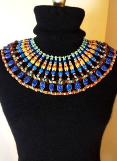 Vintage Miriam Haskell Necklace Signed Egyptian Bib Collar Larry Vrba Era Massive 15 Layers Haute Couture