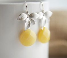Yellow Opal Earrings  Yellow and Silver Earrings  by Jewels2Luv, $32.50