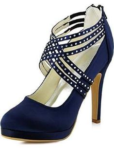 These Navy Blue Women Shoes are absolutely sexy, adorable and quite affordable. I love all the cute embellishments on the top part of the shoe.      ElegantPark EP11085-PF Women's Pumps Closed Toe Platform High Heel Rhinestones Zipper Satin Prom Party Dre
