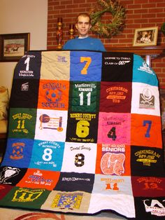 What to do with all those sentimental shirts your kids wore? Cut them into squares and make a quilt!
