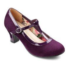 Michelle Heels  - Elegant stretch-fit ladies heels - Plum size 11 $99.00 AT vintagedancer.com