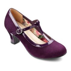 Michelle Heels  - Elegant stretch-fit ladies heels - Plum size 11 $129.00 AT vintagedancer.com