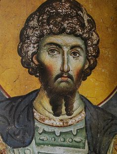 Double beard with a neat stache. Also, did Byzantine nobility cover their face in make-up? Orthodox Icons, Portrait Drawing, Byzantine Art, Painting, Art, Saint Luke, Fresco, Christian Art, Art Icon