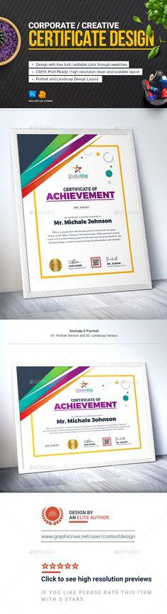 Certificate Design Template Certificate of Achievement Certificate Of Appreciation, Certificate Of Achievement, Award Certificates, Certificate Programs, Certificate Design Template, Best Nursing Schools, Psd Templates, Design Templates, Career Opportunities