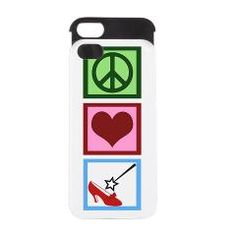 Peace Love Wizard of Oz iPhone 5 case with Dorothy's red ruby slipper and Glenda's wand.