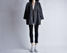 woven cotton kimono style striped jacket / by persephonevintage