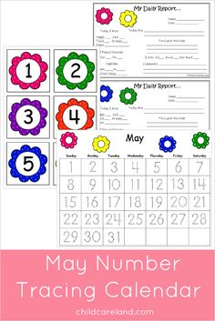 May number tracing calendar ... calendar numbers ... days of the week and months of the year.